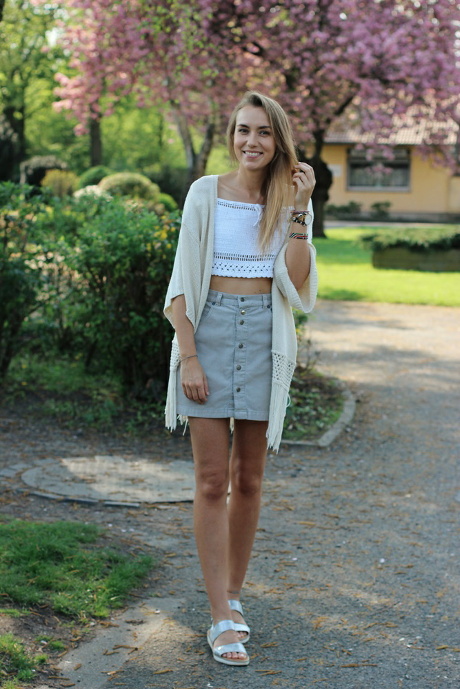 Beige High Waisted Cord Skirt