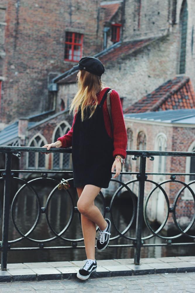 Baker Boy Hat in Bruges Outfit
