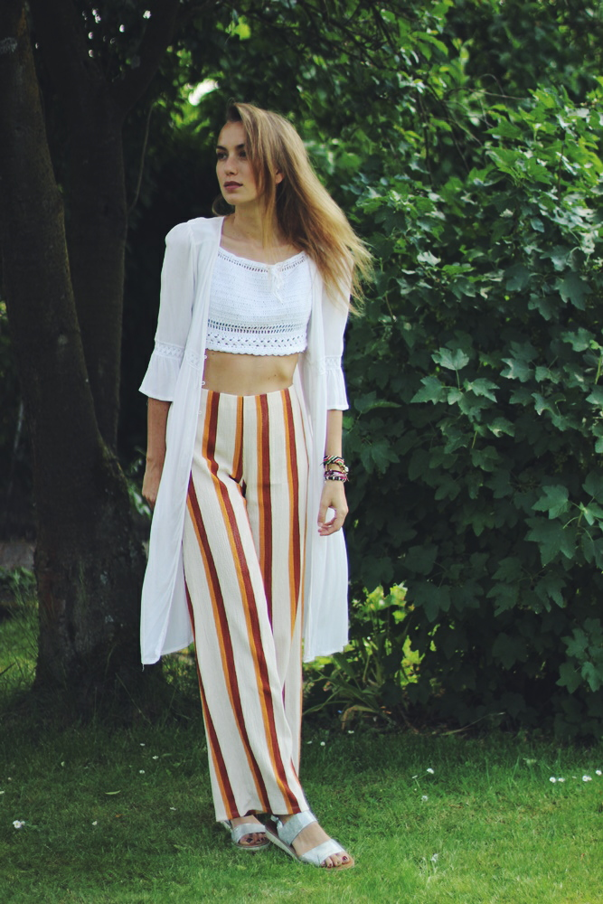 Boho Striped Pants Festival Outfit