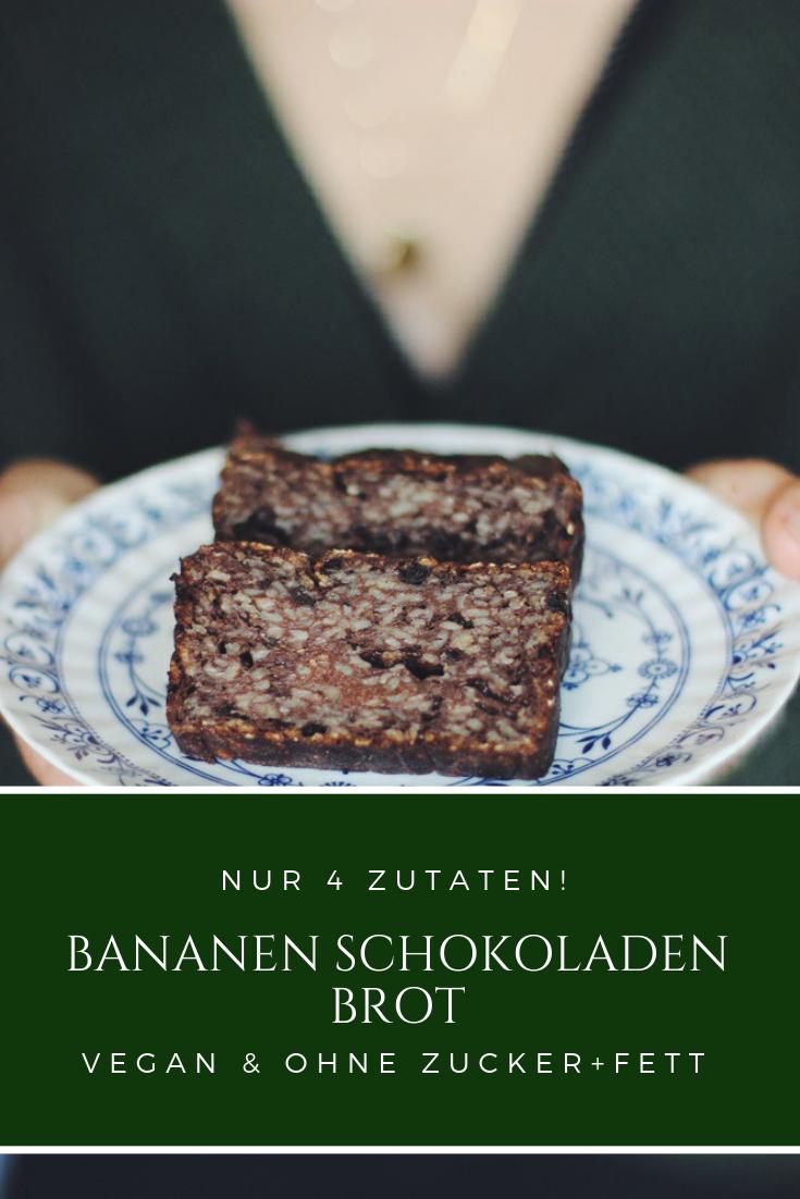 4 Zutaten Bananen Schokoladen Brot rezept Vegan ohne Zucker Fett willascherrybomb