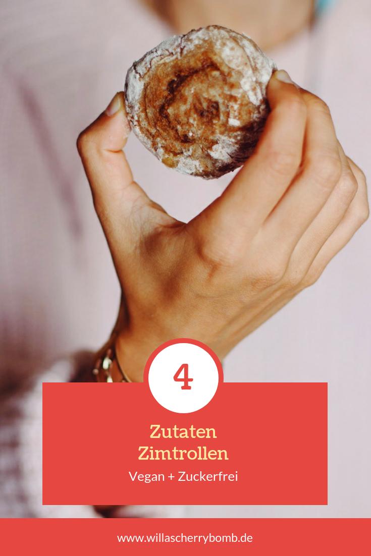 Vegane Zimtschnecken mit 4 Zutaten Gesund & Zuckerfrei willascherrybomb