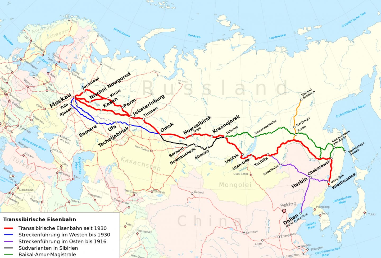 Transsibirische Eisenbahn Route